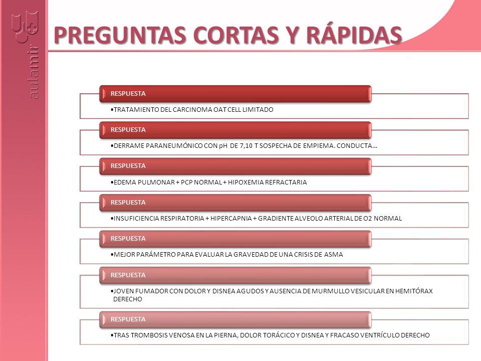 PREGUNTAS CORTAS Y RÁPIDAS TRATAMIENTO DEL CARCINOMA OAT CELL LIMITADO RESPUESTA DERRAME PARANEUMÓNICO CON pH DE 7,10 T SOSPECHA DE EMPIEMA. CONDUCTA…