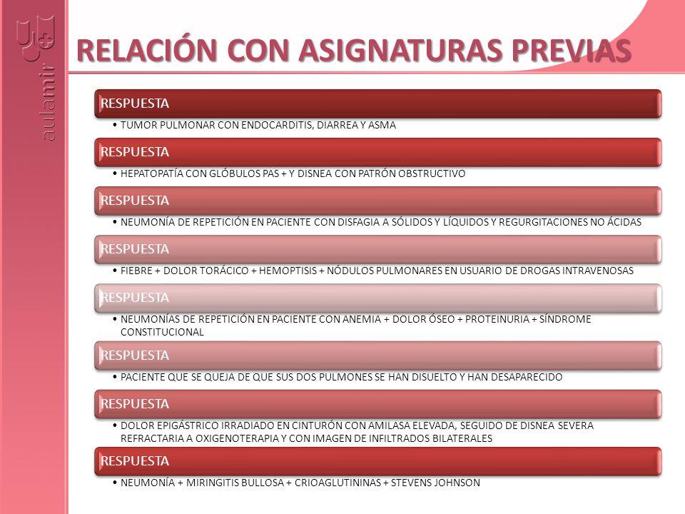 RELACIÓN CON ASIGNATURAS PREVIAS RESPUESTA TUMOR PULMONAR CON ENDOCARDITIS, DIARREA Y ASMA RESPUESTA HEPATOPATÍA CON GLÓBULOS PAS + Y DISNEA CON PATRÓ
