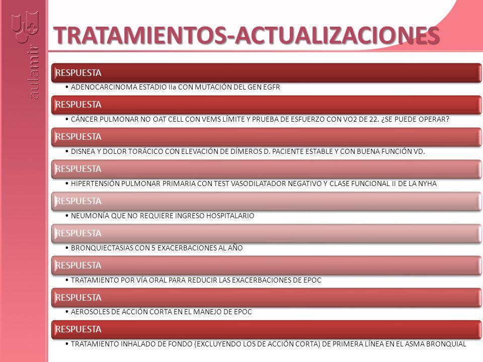 TRATAMIENTOS-ACTUALIZACIONES ADENOCARCINOMA ESTADIO IIa CON MUTACIÓN DEL GEN EGFR RESPUESTA CÁNCER PULMONAR NO OAT CELL CON VEMS LÍMITE Y PRUEBA DE ES