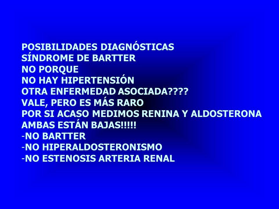 POSIBILIDADES DIAGNÓSTICAS ACIDOSIS CON HIPOPOTASEMIA HIPERTENSION ASOCIADA NO PORQUE: -HAY ALCALOSIS -NO HAY LITIASIS -LO ÚNICO QUE COINCIDE: HIPOPOTASEMIA -POTASIO En ORINA: ALTO (TIPOS 1 Y 2)