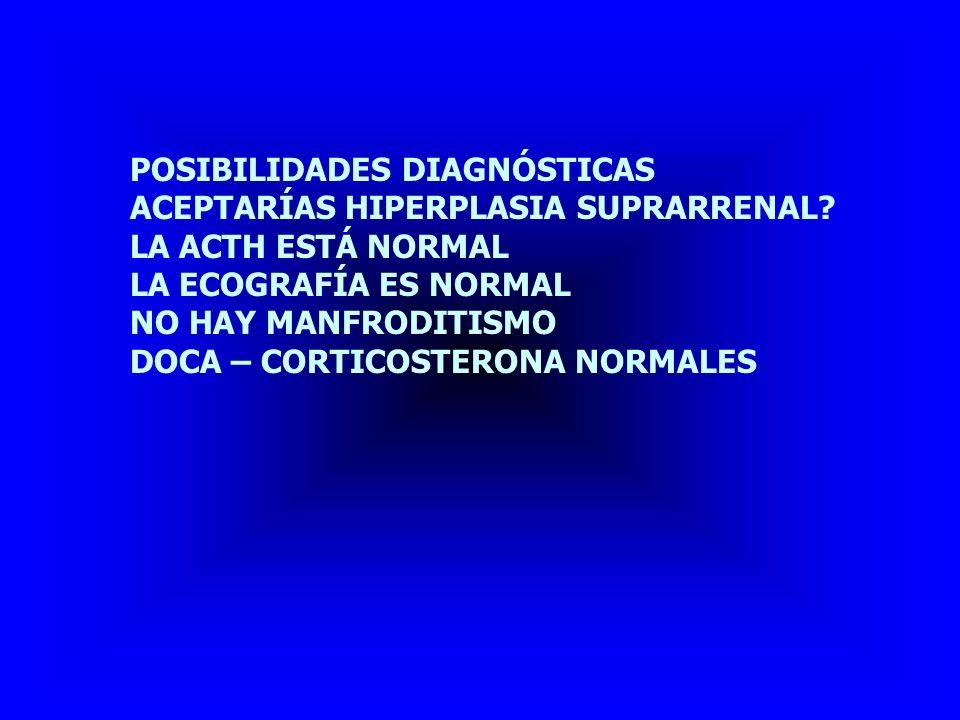 POSIBILIDADES DIAGNÓSTICAS THE PILLAO IGUAL QUE LA SEMANA PASADA ES UN CUSHING ECTÓPICO -NO ME FUMA -NO ME TOSE -NO ME ESPUTA (EXPECTORA) -NO SE LE SUBE LA COLOR -RESPUESTA A DEXAMETASONA NORMAL!!!.