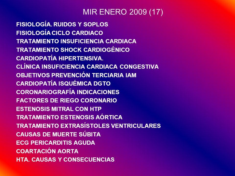 MIR ENERO 2010 (16) CASOS CLÍNICOS INSUFICIENCIA CARDIACA (2) INFARTO (2) TEST INSUFICIENCIA AÓRTICA INSUFICIENCIA CARDIACA TRATAMIENTO INSUFICIENCIA CARDIACA PREVENCIÓN SÍNDROME CORONARIO AGUDO FIBRILACIÓN AURICULAR BLOQUEOS MIOCARDIOPATÍA HIPERTRÓFICA M.
