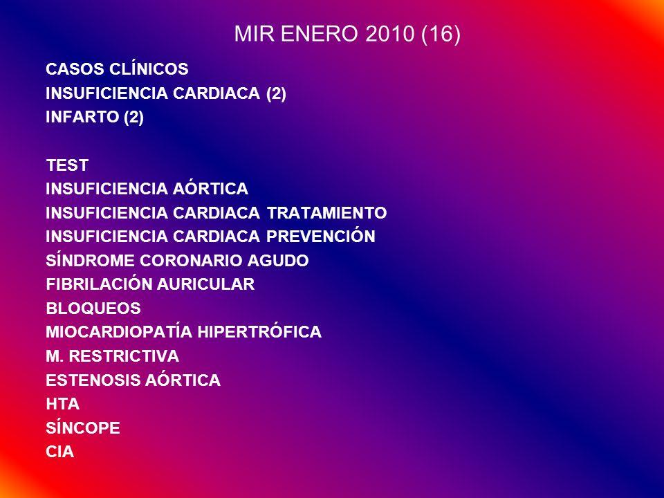 MIR ENERO 2011 (16) CASOS CLÍNICOS INFARTO (2) EDEMA DE PULMÓN (2) TEST INSUFICIENCIA CARDIACA SÍNDROME CORONARIO AGUDO (3) ESTENOSIS MITRAL ESTENOSIS AÓRTICA SÍNCOPE WPW TPSV HIPERTENSIÓN (2) DISECCIÓN