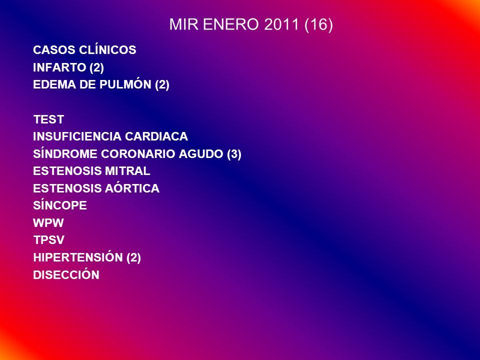MIR ENERO 2011 (16) CASOS CLÍNICOS INFARTO (2) EDEMA DE PULMÓN (2) TEST INSUFICIENCIA CARDIACA SÍNDROME CORONARIO AGUDO (3) ESTENOSIS MITRAL ESTENOSIS