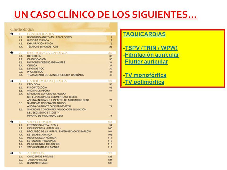 UN CASO CLÍNICO DE LOS SIGUIENTES… TAQUICARDIAS -TSPV (TRIN / WPW) -Fibrilación auricular -Flutter auricular -TV monofórfica -TV polimórfica