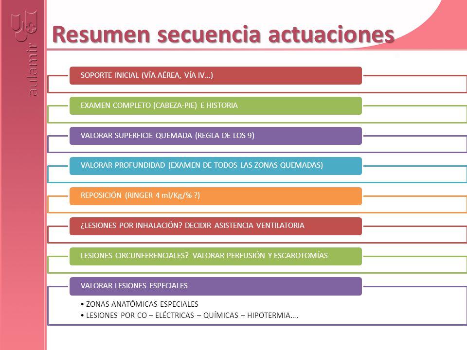 Resumen secuencia actuaciones SOPORTE INICIAL (VÍA AÉREA, VÍA IV…)EXAMEN COMPLETO (CABEZA-PIE) E HISTORIAVALORAR SUPERFICIE QUEMADA (REGLA DE LOS 9)VA