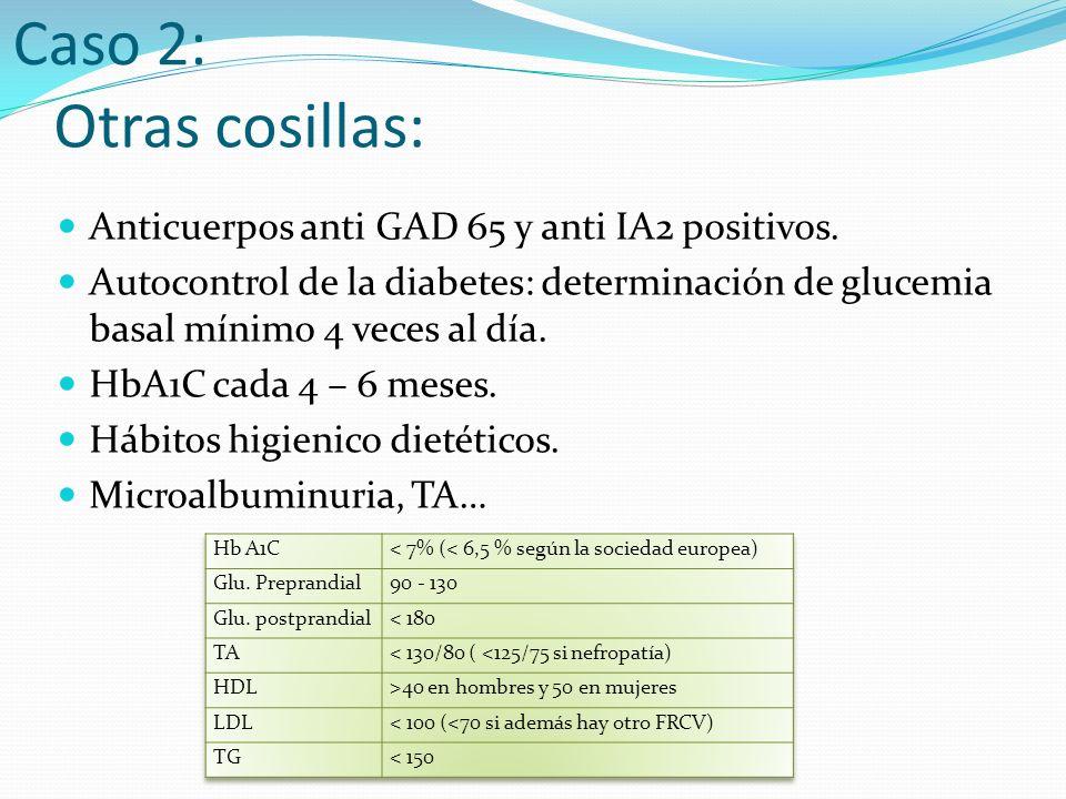 Otras cosillas: Anticuerpos anti GAD 65 y anti IA2 positivos.