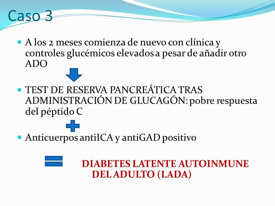 A los 2 meses comienza de nuevo con clínica y controles glucémicos elevados a pesar de añadir otro ADO TEST DE RESERVA PANCREÁTICA TRAS ADMINISTRACIÓN DE GLUCAGÓN: pobre respuesta del péptido C Anticuerpos antiICA y antiGAD positivo DIABETES LATENTE AUTOINMUNE DEL ADULTO (LADA) Caso 3