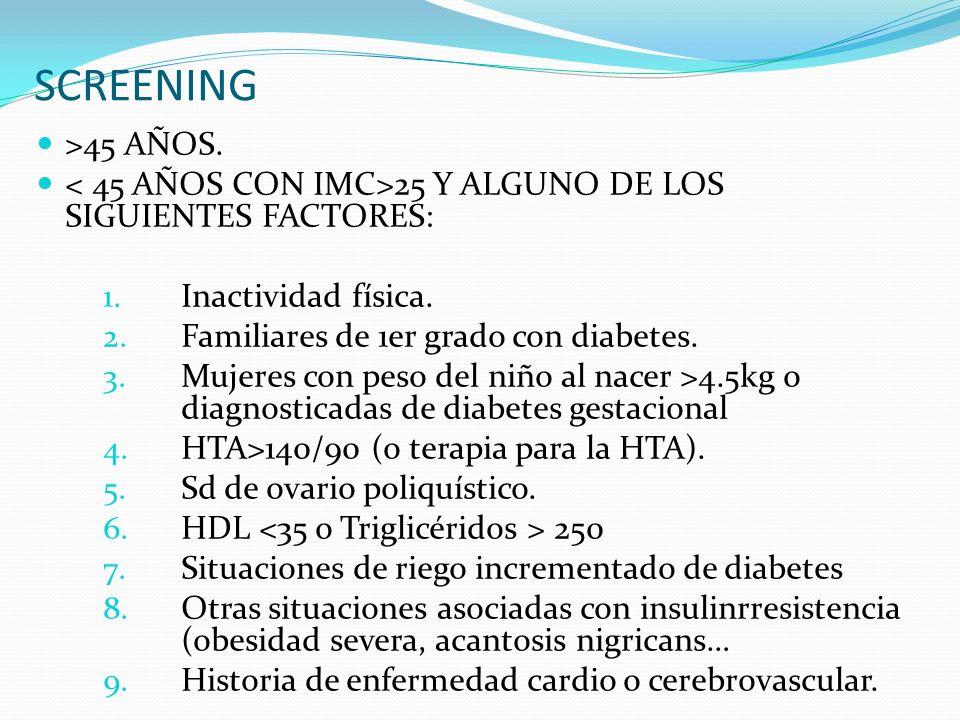 SCREENING >45 AÑOS.25 Y ALGUNO DE LOS SIGUIENTES FACTORES: 1.