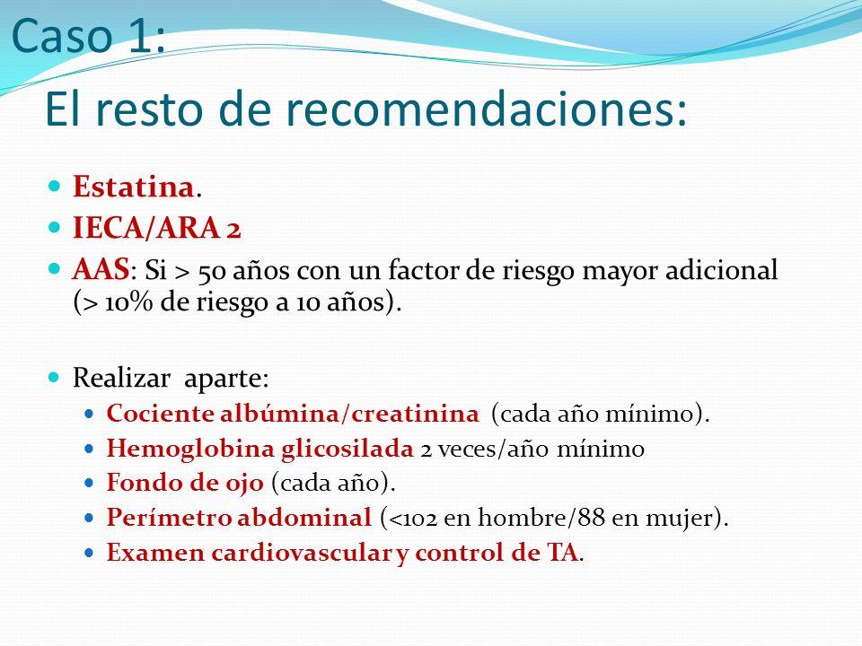 TRATAMIENTO SUERO salino fisiológico (0.9%) Cuando GLU<250: Añadir suero glucosado (en Y) INSULINA: - Bolo inicial de 15 -20 UI de rápida - Perfusión continua de insulina iv - Cuando se solucione acidosis y pueda comer: insulina sc (mantener perfusión las 2 primeras horas) CLORURO POTASICO : Si K < 5.5 -6 BICARBONATO Si pH <7 ANTIBIOTERAPIA SI INFECCIÓN Caso 2: