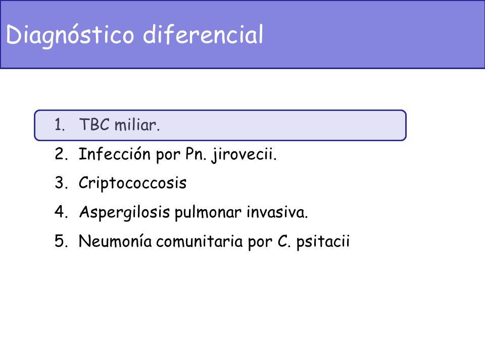 1.TBC miliar. 2.Infección por Pn. jirovecii. 3.Criptococcosis 4.Aspergilosis pulmonar invasiva. 5.Neumonía comunitaria por C. psitacii Diagnóstico dif