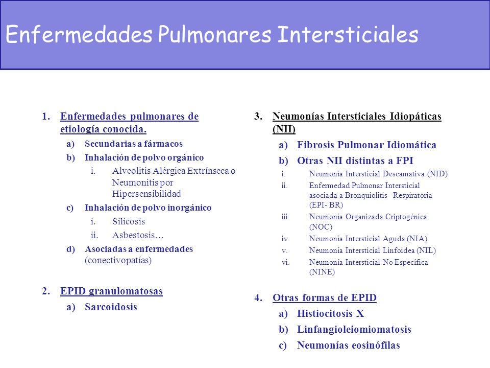 1.Enfermedades pulmonares de etiología conocida. a)Secundarias a fármacos b)Inhalación de polvo orgánico i.Alveolitis Alérgica Extrínseca o Neumonitis