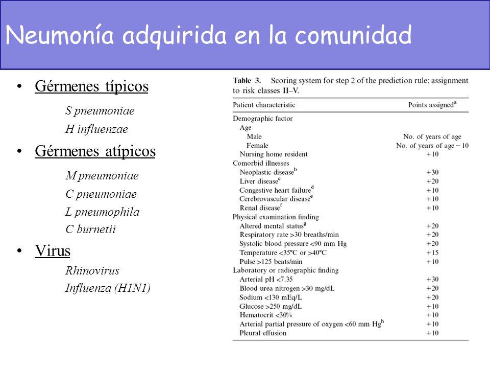 Gérmenes típicos S pneumoniae H influenzae Gérmenes atípicos M pneumoniae C pneumoniae L pneumophila C burnetii Virus Rhinovirus Influenza (H1N1) Neum
