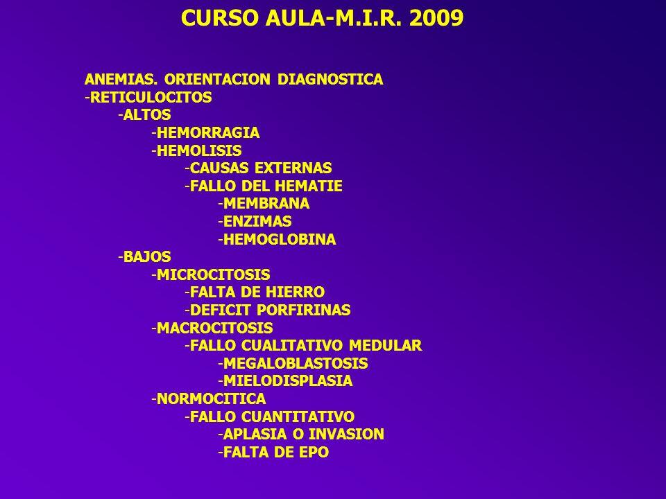 CURSO AULA-M.I.R. 2009 CAUSAS DE ANEMIA -MEDULA OSEA -NO FUNCIONA (APLASIA, INVASION MEDULAR) -FUNCIONA MAL (DISPLASIA, MEGALOBLASTOSIS) -ALTERACION D