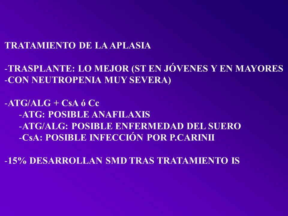 TRATAMIENTO -TRASPLANTE: SUPERVIVENCIA 50% A 3 AÑOS -AZACITIDINA – DECITABINA (CICLOS IV) -LENALIDOMIDA PARA EL 5q- -AMIFOSTINA (EN JÓVENES)