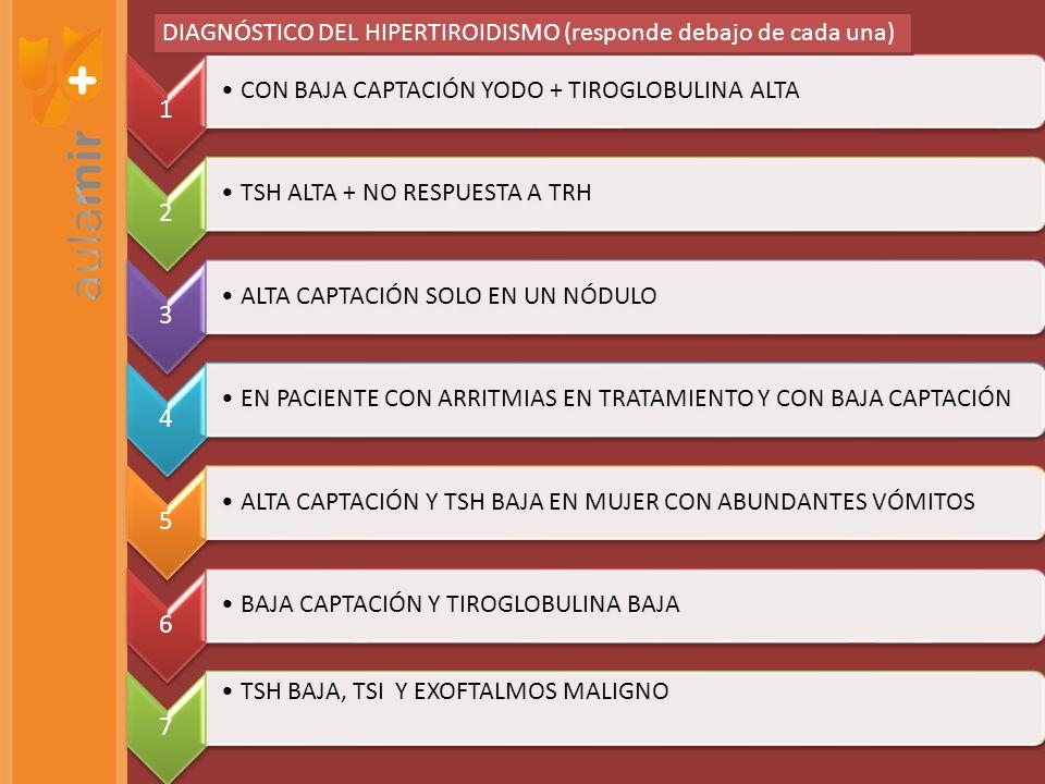 PROLACTINOMA RESPUESTA ACROMEGALIA RESPUESTA DIABETES INSÍPIDA NEFROGÉNICA RESPUESTA TIROIDITIS SUBAGUDA GRANULOMATOSA RESPUESTA PRE-CIRUGÍA DEL FEOCROMOCITOMA RESPUESTA SEMINOMA + GANGLIOS MAYORES DE 5 cm RESPUESTA TRATAMIENTOS