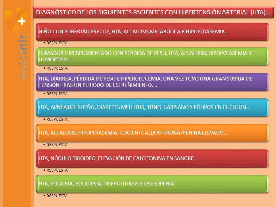 NIÑO CON PUBERTAD PRECOZ, HTA, ALCALOSIS METABÓLICA E HIPOPOTASEMIA…. RESPUESTA. FUMADOR HIPERPIGMENTADO CON PÉRDIDA DE PESO, HTA, ALCALOSIS, HIPOPOTA