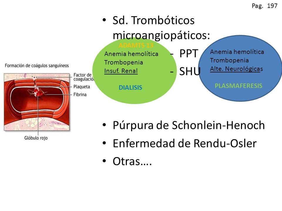 Pag. 197 Anemia hemolítica Trombopenia Alte. Neurológicas PLASMAFERESIS ADAMTS 13 Anemia hemolítica Trombopenia Insuf. Renal DIALISIS Sd. Trombóticos