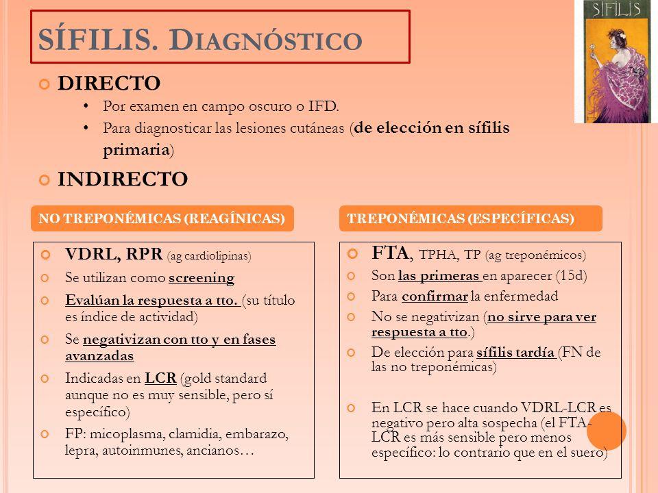 VDRL, RPR (ag cardiolipinas) Se utilizan como screening Evalúan la respuesta a tto. (su título es índice de actividad) Se negativizan con tto y en fas