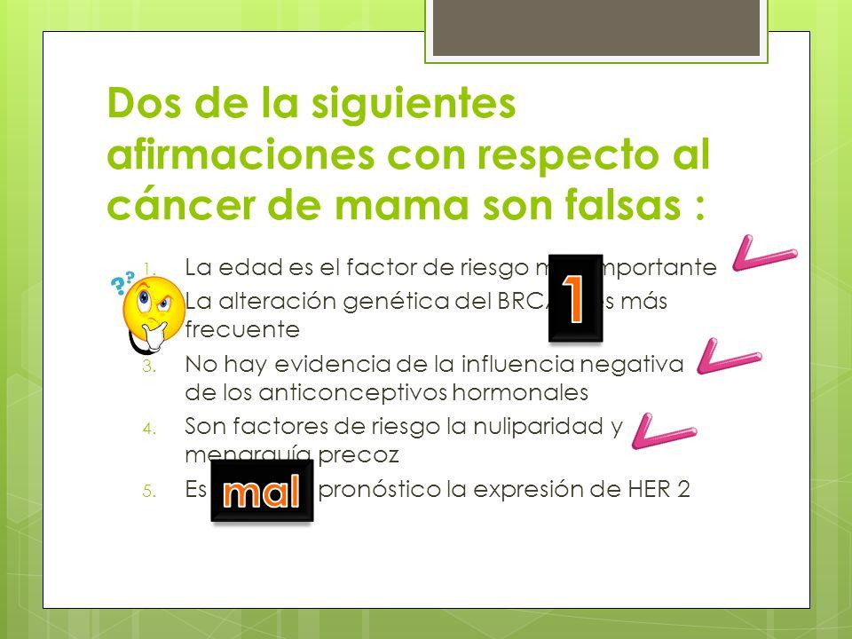 Dos de la siguientes afirmaciones con respecto al cáncer de mama son falsas : 1. La edad es el factor de riesgo más importante 2. La alteración genéti