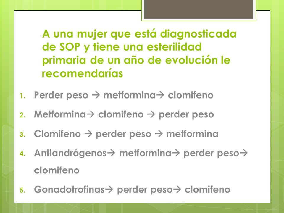 A una mujer que está diagnosticada de SOP y tiene una esterilidad primaria de un año de evolución le recomendarías 1. Perder peso metformina clomifeno