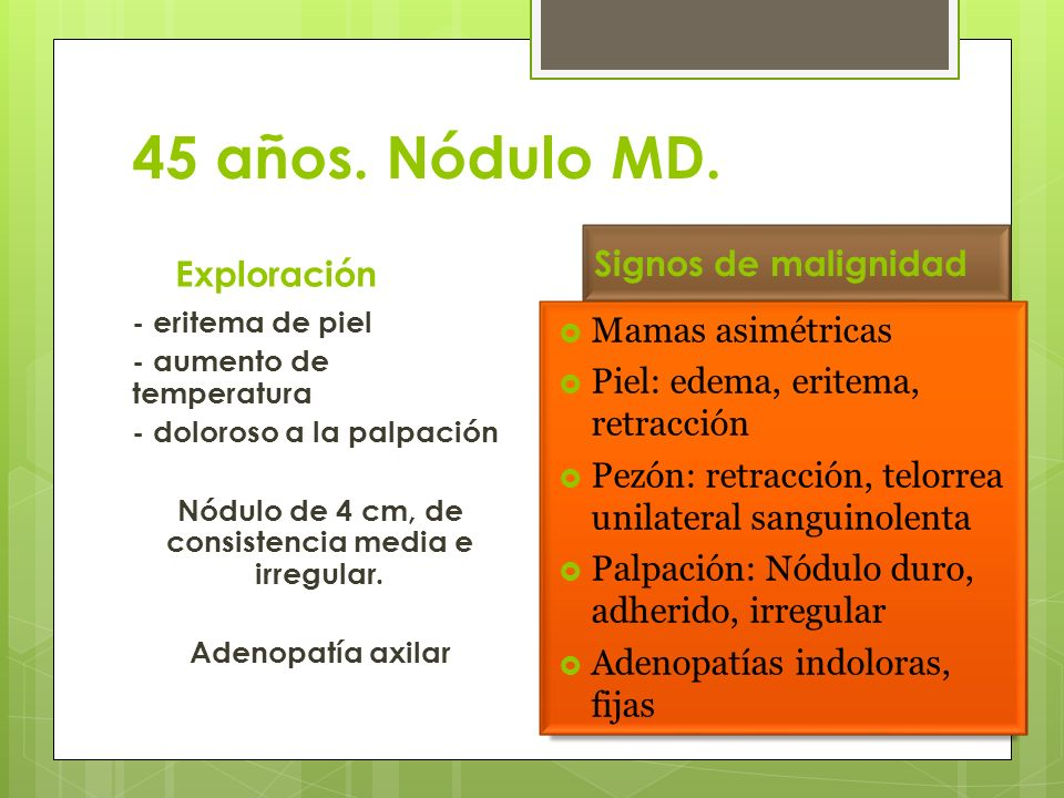 45 años. Nódulo MD. Exploración - eritema de piel - aumento de temperatura - doloroso a la palpación Nódulo de 4 cm, de consistencia media e irregular