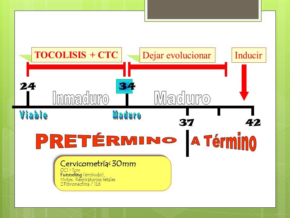 24 TOCOLISIS + CTC Dejar evolucionar 4237 Inducir 34 Cervicometría< 30mm OCI > 1cm Funneling (embudo) Mvtos. Respiratorios fetales Fibronectina / IL6