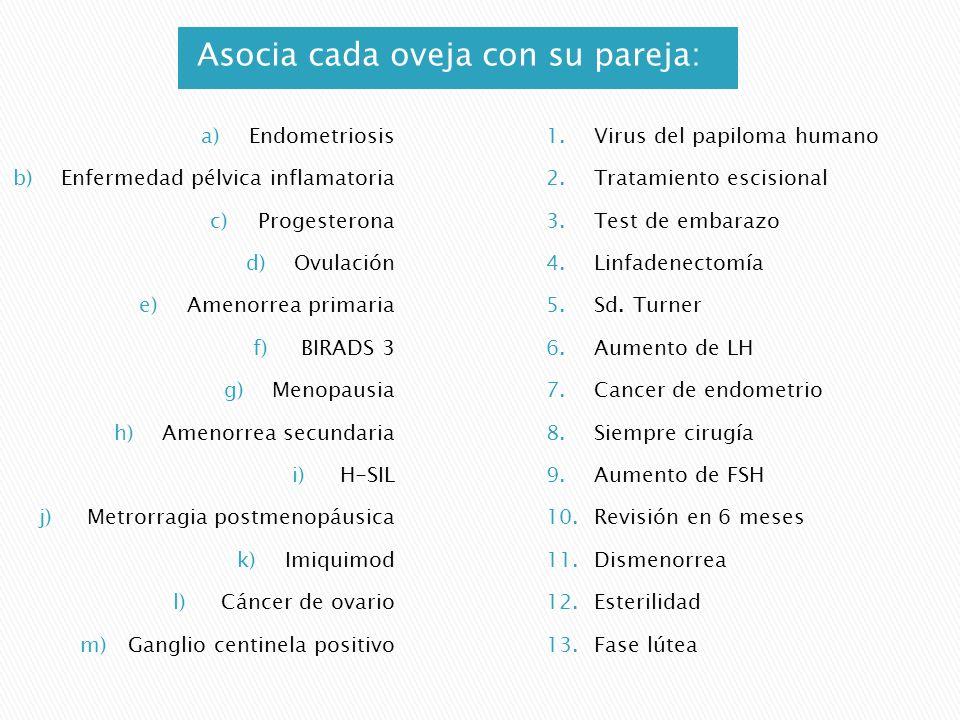 Asocia cada oveja con su pareja: a)Endometriosis b)Enfermedad pélvica inflamatoria c)Progesterona d)Ovulación e)Amenorrea primaria f)BIRADS 3 g)Menopa
