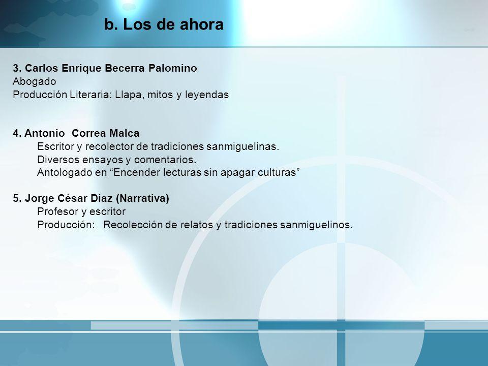 3. Carlos Enrique Becerra Palomino Abogado Producción Literaria: Llapa, mitos y leyendas 4. Antonio Correa Malca Escritor y recolector de tradiciones