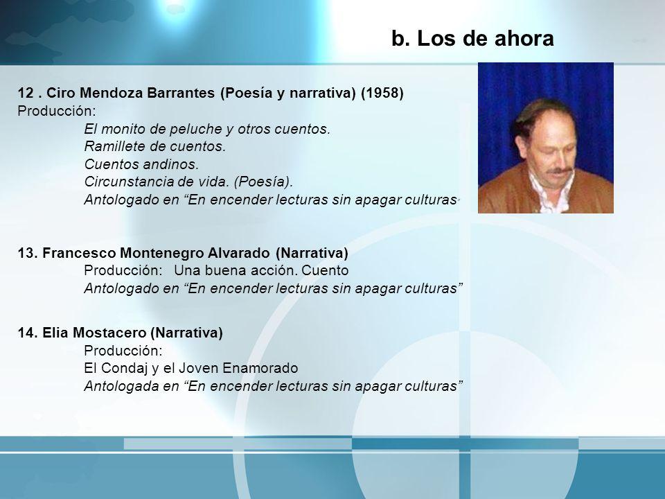 12. Ciro Mendoza Barrantes (Poesía y narrativa) (1958) Producción: El monito de peluche y otros cuentos. Ramillete de cuentos. Cuentos andinos. Circun