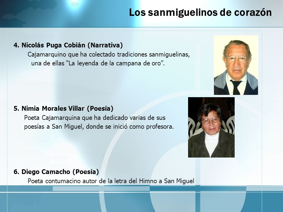 Los sanmiguelinos de corazón 4. Nicolás Puga Cobián (Narrativa) Cajamarquino que ha colectado tradiciones sanmiguelinas, una de ellas La leyenda de la