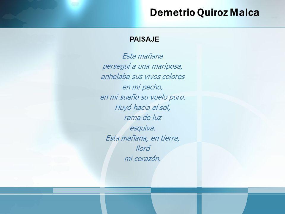 Demetrio Quiroz Malca Esta mañana perseguí a una mariposa, anhelaba sus vivos colores en mi pecho, en mi sueño su vuelo puro. Huyó hacia el sol, rama