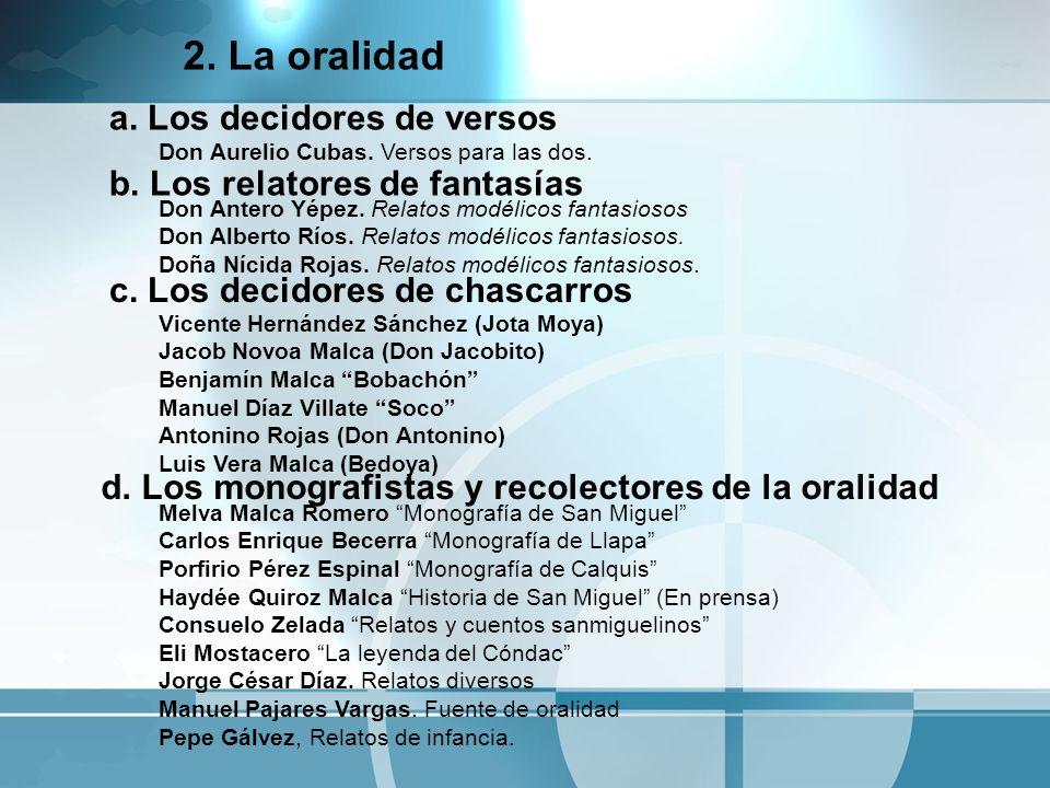 2. La oralidad Melva Malca Romero Monografía de San Miguel Carlos Enrique Becerra Monografía de Llapa Porfirio Pérez Espinal Monografía de Calquis Hay