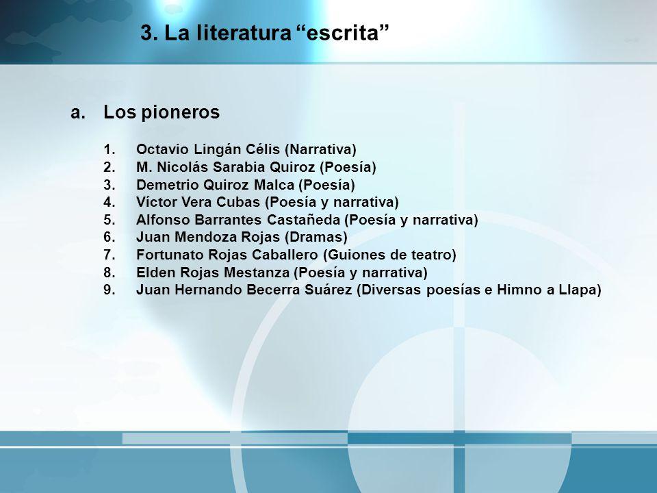 a.Los pioneros 1.Octavio Lingán Célis (Narrativa) 2.M. Nicolás Sarabia Quiroz (Poesía) 3.Demetrio Quiroz Malca (Poesía) 4.Víctor Vera Cubas (Poesía y