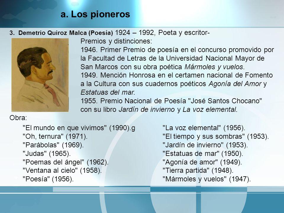 3. Demetrio Quiroz Malca (Poesía) 1924 – 1992, Poeta y escritor- Premios y distinciones: 1946. Primer Premio de poesía en el concurso promovido por la