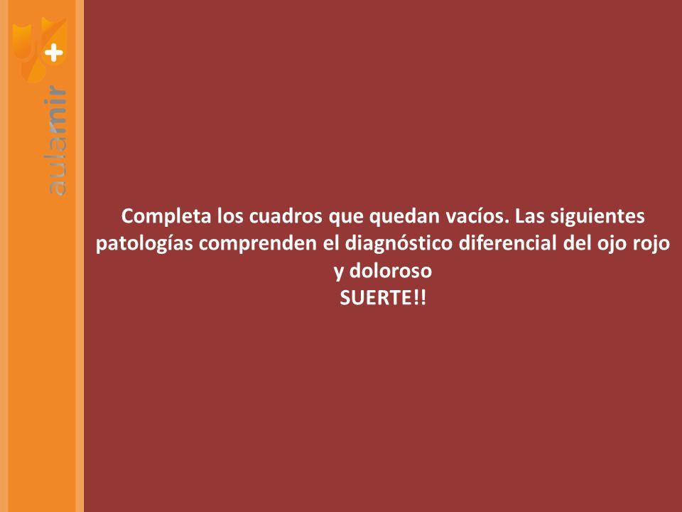 Completa los cuadros que quedan vacíos. Las siguientes patologías comprenden el diagnóstico diferencial del ojo rojo y doloroso SUERTE!!