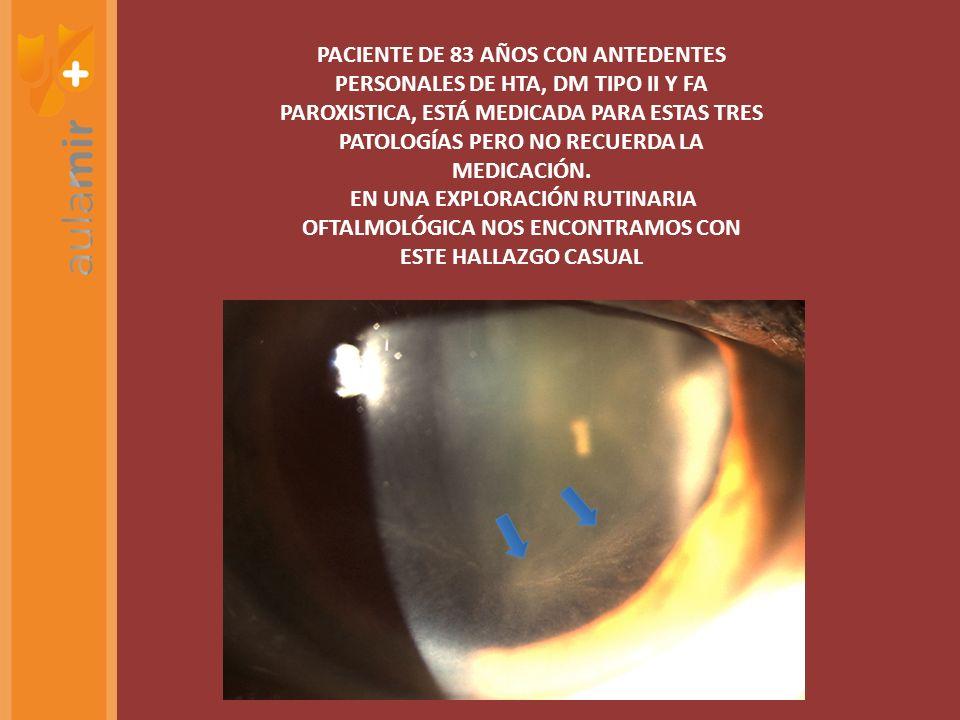 PACIENTE DE 83 AÑOS CON ANTEDENTES PERSONALES DE HTA, DM TIPO II Y FA PAROXISTICA, ESTÁ MEDICADA PARA ESTAS TRES PATOLOGÍAS PERO NO RECUERDA LA MEDICA
