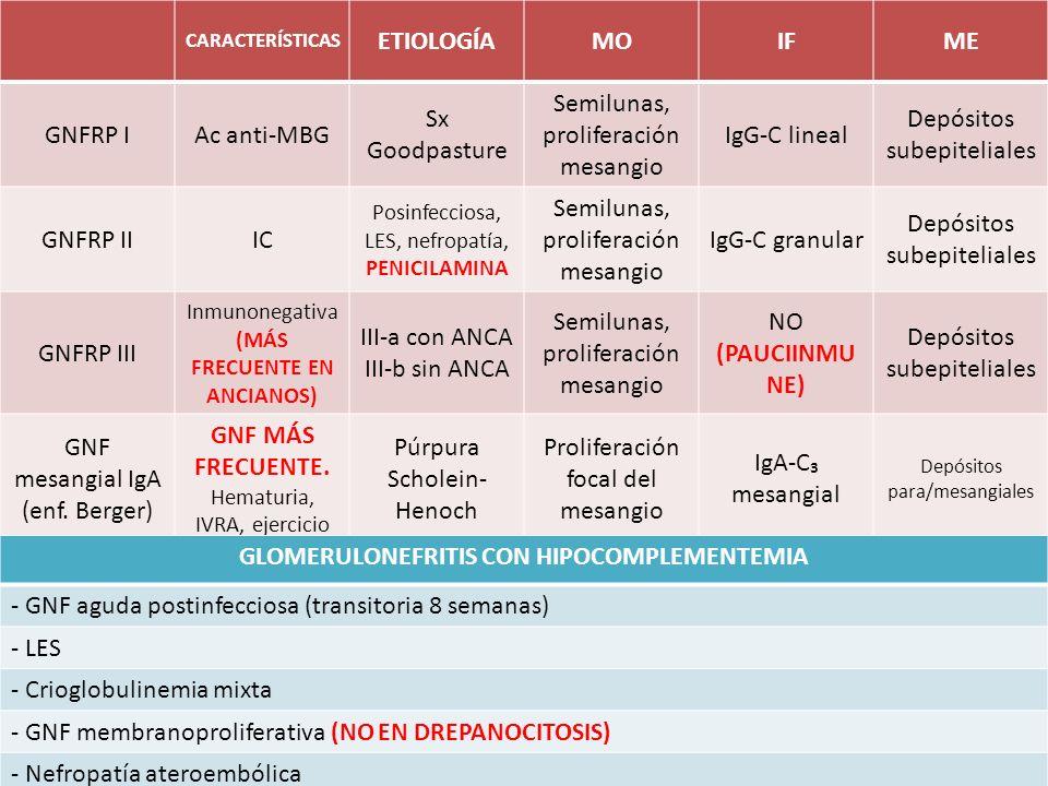 CARACTERÍSTICAS ETIOLOGÍAMOIFME GNFRP IAc anti-MBG Sx Goodpasture Semilunas, proliferación mesangio IgG-C lineal Depósitos subepiteliales GNFRP IIIC P