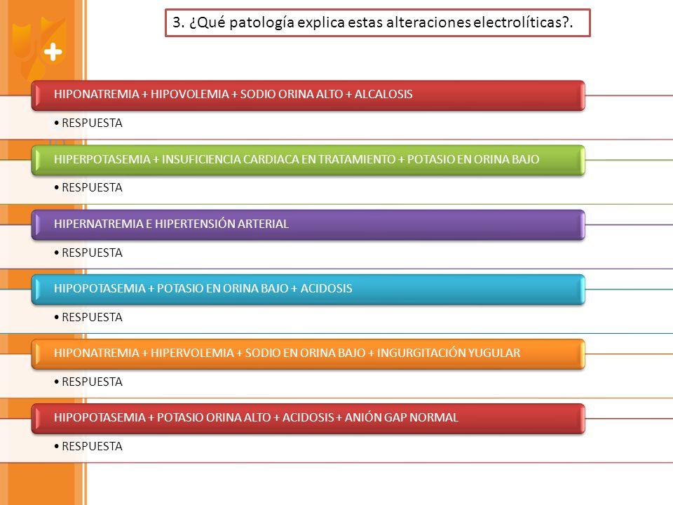 RESPUESTA HIPONATREMIA + HIPOVOLEMIA + SODIO ORINA ALTO + ALCALOSIS RESPUESTA HIPERPOTASEMIA + INSUFICIENCIA CARDIACA EN TRATAMIENTO + POTASIO EN ORIN