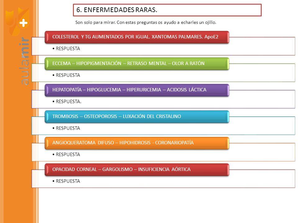 RESPUESTA DERMATITIS – DIARREA - DEMENCIA RESPUESTA ATAXIA (SEUDO FRIEDRICH) RESPUESTA POLINEURITIS – LITIASIS DE OXALATO – ANEMIA SIDEROBLÁSTICA RESPUESTA ATAXIA – CONFUSIÓN – ESTRABISMO – NISTAGMO (WERNICKE) RESPUESTA HEMERALOPIA – XEROSIS CONJUNTIVA - HIPERQUERATOSIS RESPUESTA ANEMIA – OSTEOPOROSIS – HEMORRAGIAS – PÉRDIDA DE DIENTES 7.