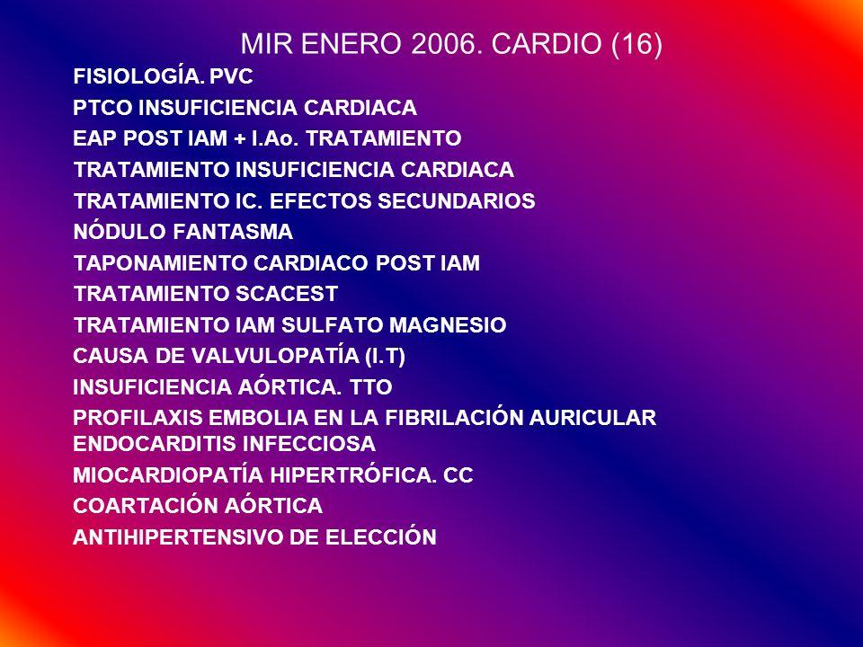 MIR ENERO 2006. CARDIO (16) FISIOLOGÍA. PVC PTCO INSUFICIENCIA CARDIACA EAP POST IAM + I.Ao. TRATAMIENTO TRATAMIENTO INSUFICIENCIA CARDIACA TRATAMIENT