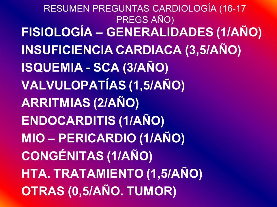RESUMEN PREGUNTAS CARDIOLOGÍA (16-17 PREGS AÑO) FISIOLOGÍA – GENERALIDADES (1/AÑO) INSUFICIENCIA CARDIACA (3,5/AÑO) ISQUEMIA - SCA (3/AÑO) VALVULOPATÍ