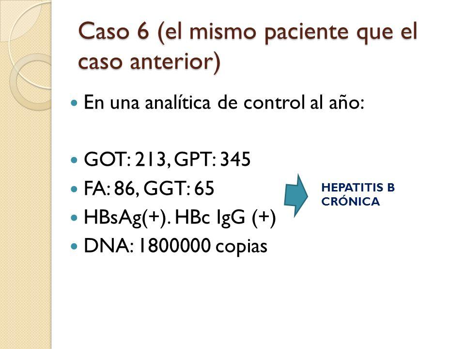 Caso 6 (el mismo paciente que el caso anterior) En una analítica de control al año: GOT: 213, GPT: 345 FA: 86, GGT: 65 HBsAg(+). HBc IgG (+) DNA: 1800