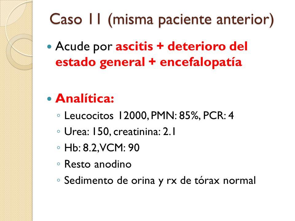 Acude por ascitis + deterioro del estado general + encefalopatía Analítica: Leucocitos 12000, PMN: 85%, PCR: 4 Urea: 150, creatinina: 2.1 Hb: 8.2, VCM