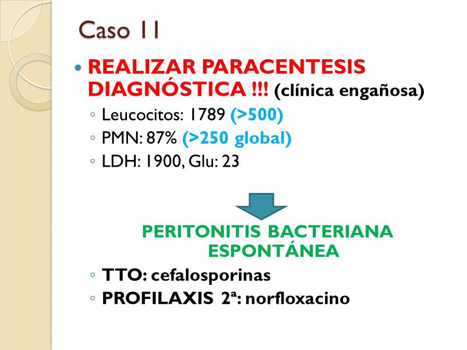 REALIZAR PARACENTESIS DIAGNÓSTICA !!! (clínica engañosa) Leucocitos: 1789 (>500) PMN: 87% (>250 global) LDH: 1900, Glu: 23 PERITONITIS BACTERIANA ESPO