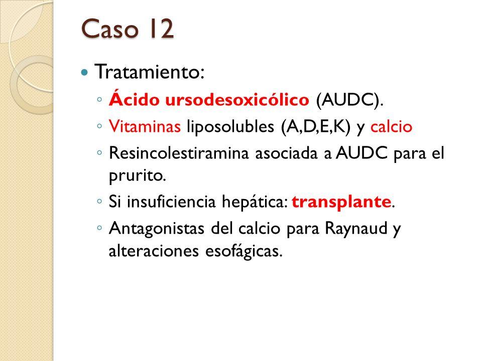 Tratamiento: Ácido ursodesoxicólico (AUDC). Vitaminas liposolubles (A,D,E,K) y calcio Resincolestiramina asociada a AUDC para el prurito. Si insuficie
