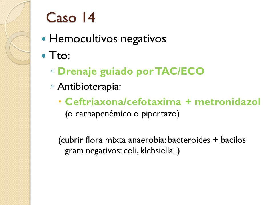 Hemocultivos negativos Tto: Drenaje guiado por TAC/ECO Antibioterapia: Ceftriaxona/cefotaxima + metronidazol (o carbapenémico o pipertazo) (cubrir flo