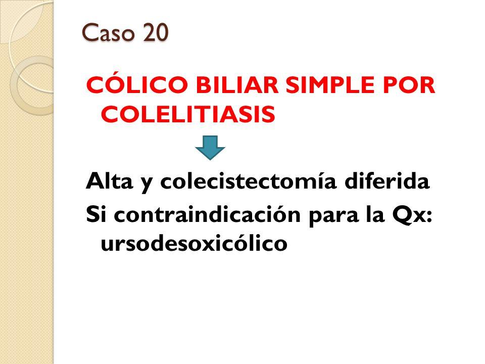 Caso 20 CÓLICO BILIAR SIMPLE POR COLELITIASIS Alta y colecistectomía diferida Si contraindicación para la Qx: ursodesoxicólico