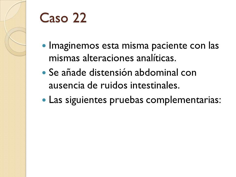 Caso 22 Imaginemos esta misma paciente con las mismas alteraciones analíticas. Se añade distensión abdominal con ausencia de ruidos intestinales. Las