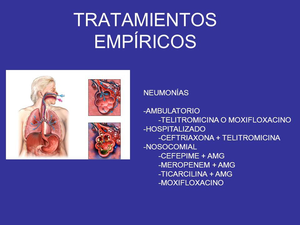 TRATAMIENTOS EMPÍRICOS ENDOCARDITIS -VANCOMICINA + GENTAMICINA -PRÓTESIS -AÑADIR RIFAMPICINA (O AMPI) -CULTIVOS NEGATIVOS -CEFTRIAXONA + GENTAMICINA